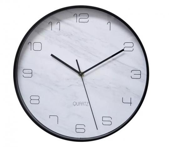 relógio de parede marble preto 31.5cm