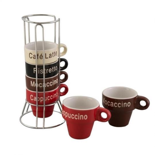 conjunto de 6 xícaras para cafe color com suporte bon gourmet