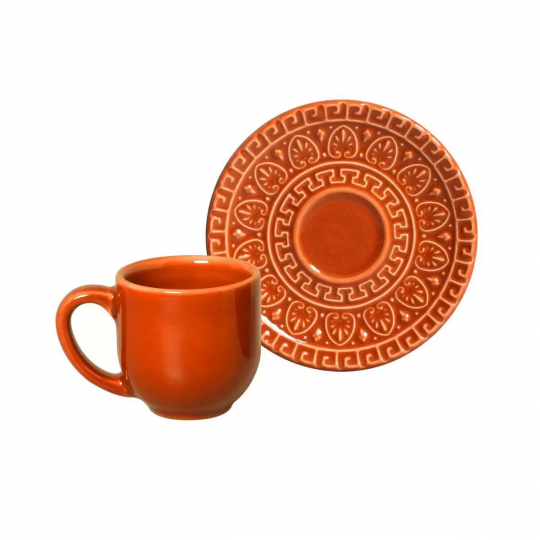 jogo 6 xícaras de cafe greek cantaloupe  porto brasil