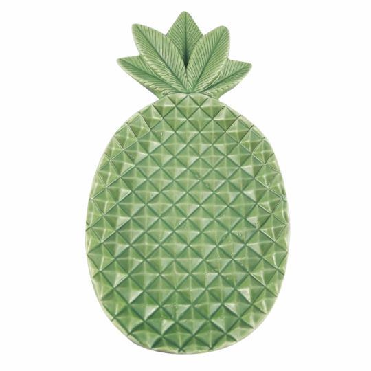 prato decorativo de ceramica de abacaxi 20,5cm x 10,5cm x 3c