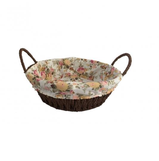 cesta redonda forrada em tecido rosa dynasty