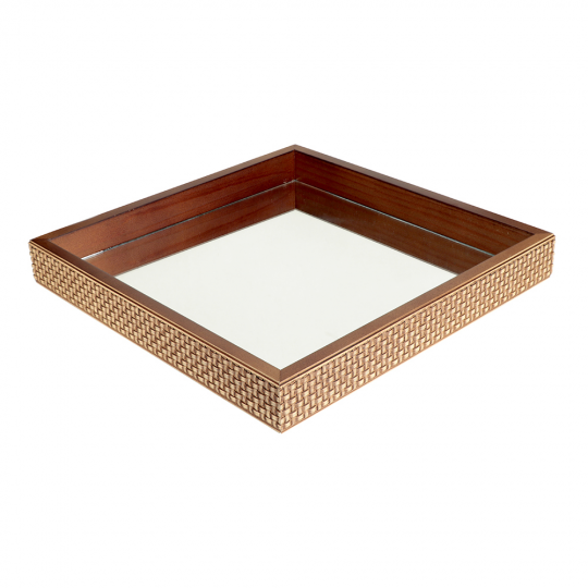 bandeja quadrada treliça espelhada 36x36cm lhermitage