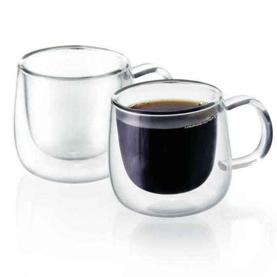 jogo de 2 xícaras de cafe transparente com parede dupla mimo