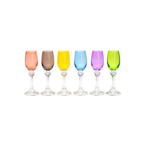 jogo de 6 taças para licor elisa colorida bohemia //*