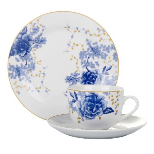 aparelho para cha 18 peças fiori blue l hermitage