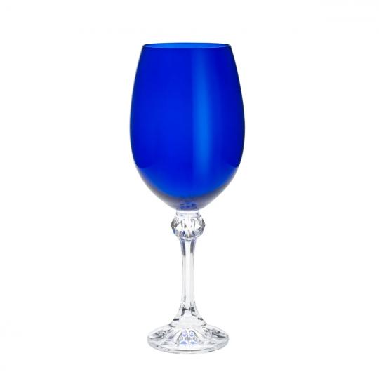 jogo 6 taças vinho elisa cobalto 450ml bohemia