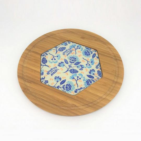 tábua para queijo em bambu com cerâmica pintada à mão 25cm incasa